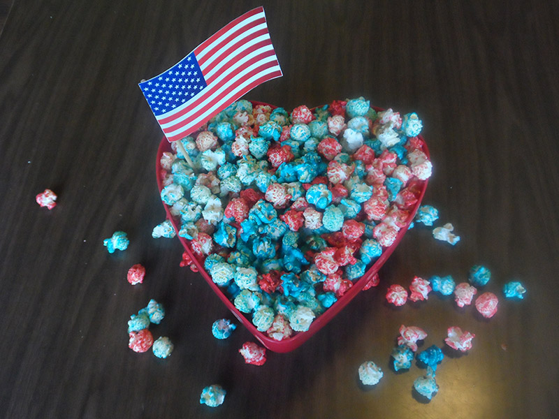 red white and blue popcorn with American flag