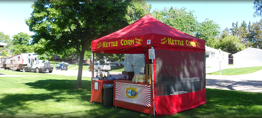 bright red Panhandle Kettle Corn tent